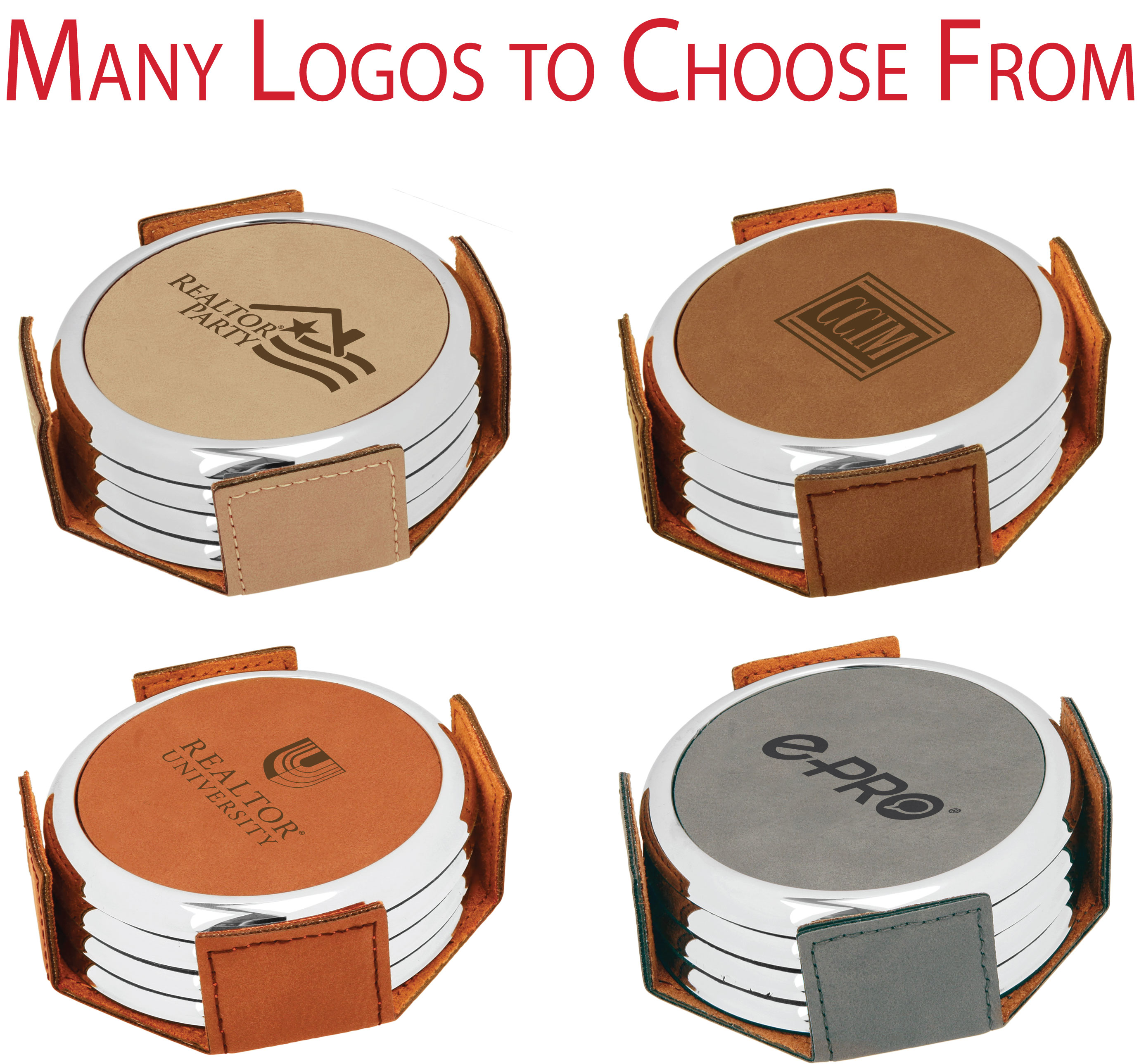 """Pick Your Logo"" Metal Coaster Sets - BTO1012"