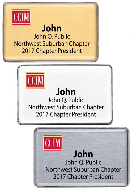 Classic Namebadge - CCIM namebadges, badgers, stickies, pins, lapels, nameplates
