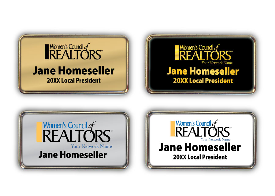 Elite Metal Rectangle Badge - Womens Council of REALTORS® namebadges, badgers, stickies, pins, lapels, nameplates, bling