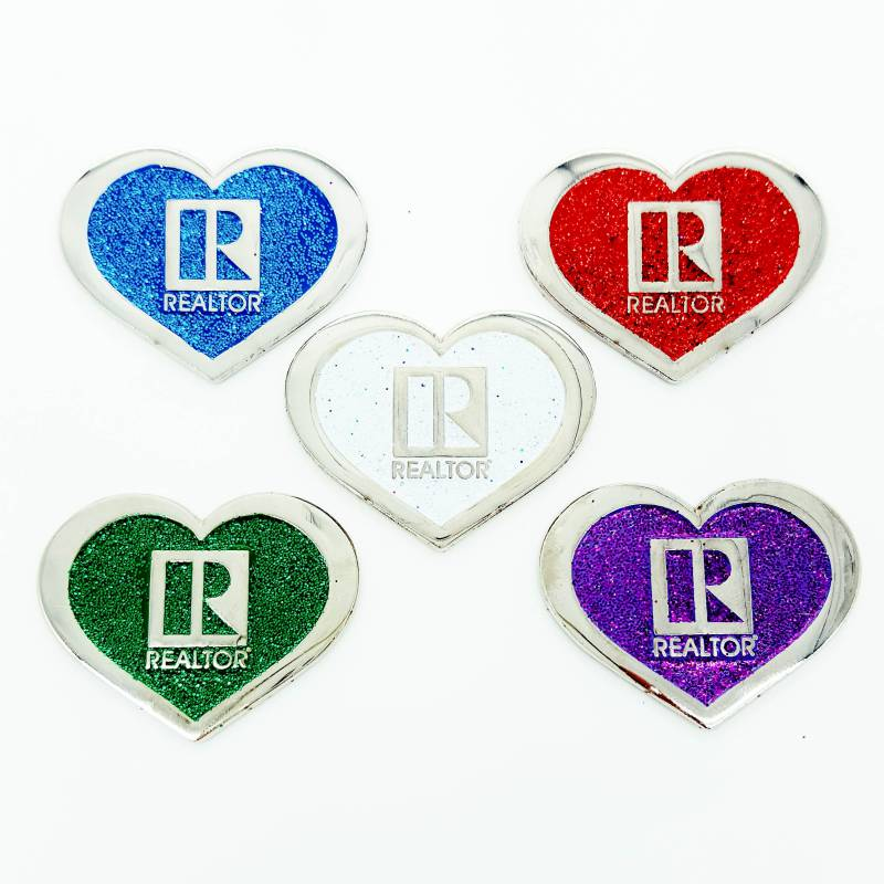Heart Shaped Glitter Pin pins, magnetics, realtors, lapels, glittery, glitzy, gleams, sparkly, sparkles, shimmery, shiny, reds, blues, greens, pearl, iridescent, purples, pinks, original