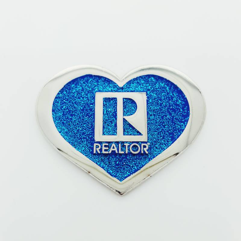 Heart Shaped Glitter Pin - RTS4428