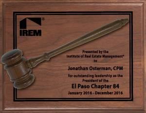 IREM Traditional President's Gavel Plaque awards, plaques, gavels