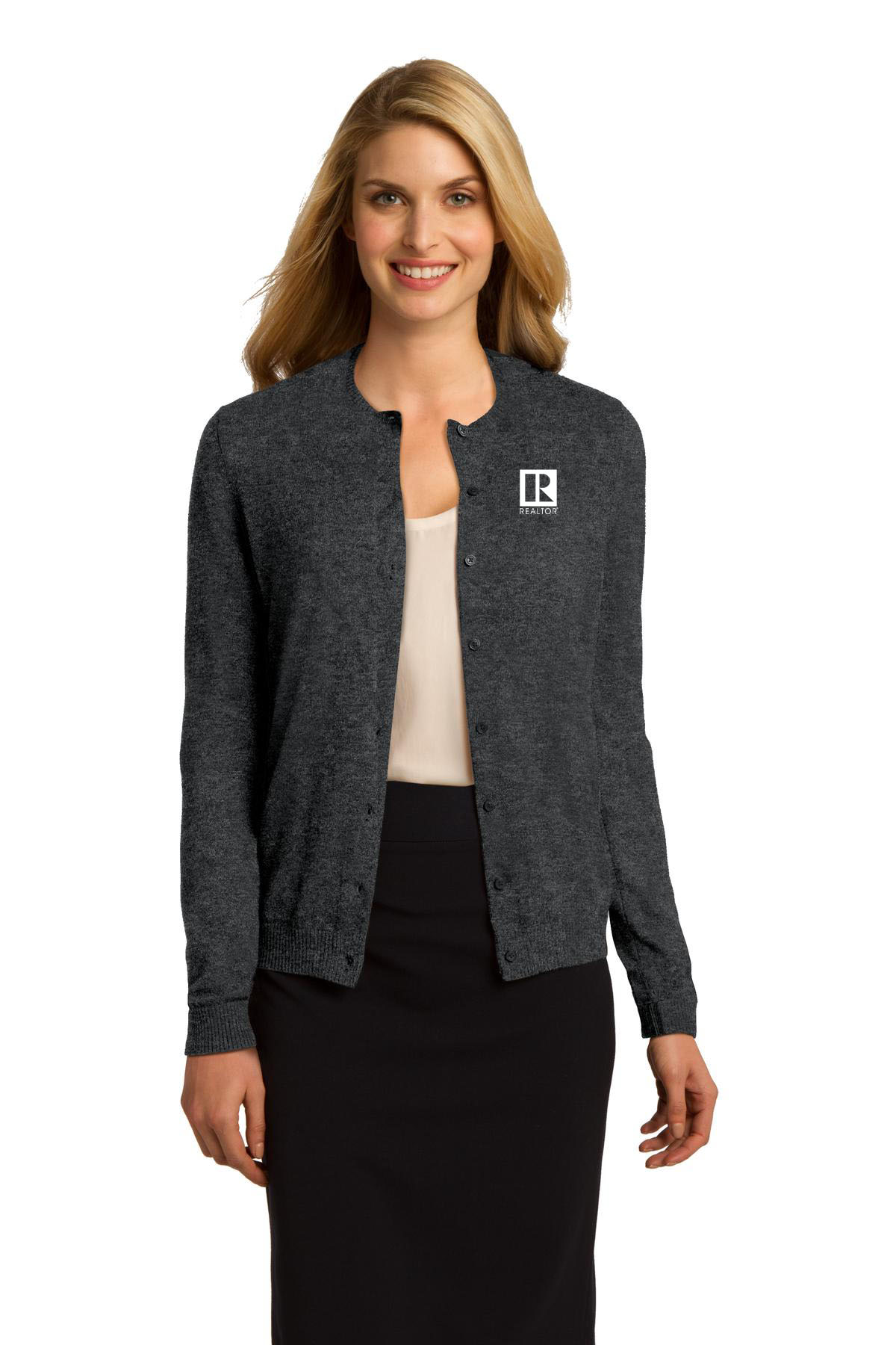 Ladies Fashion Crewneck Cardigan