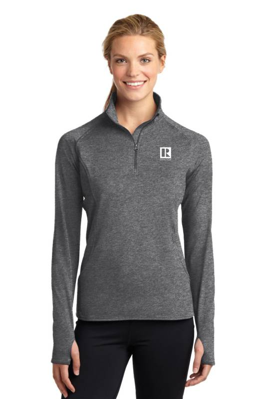 Ladies Sport Stretch 1/2 Zip Pullover Pullover,Fleece,Long Sleeve