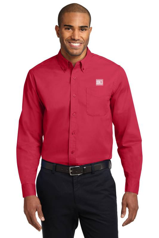 Men's Easy Care Long Sleeve Twill Shirt Twills,ButtonDowns,Dress,Shirts,Collars,Tall,Woven