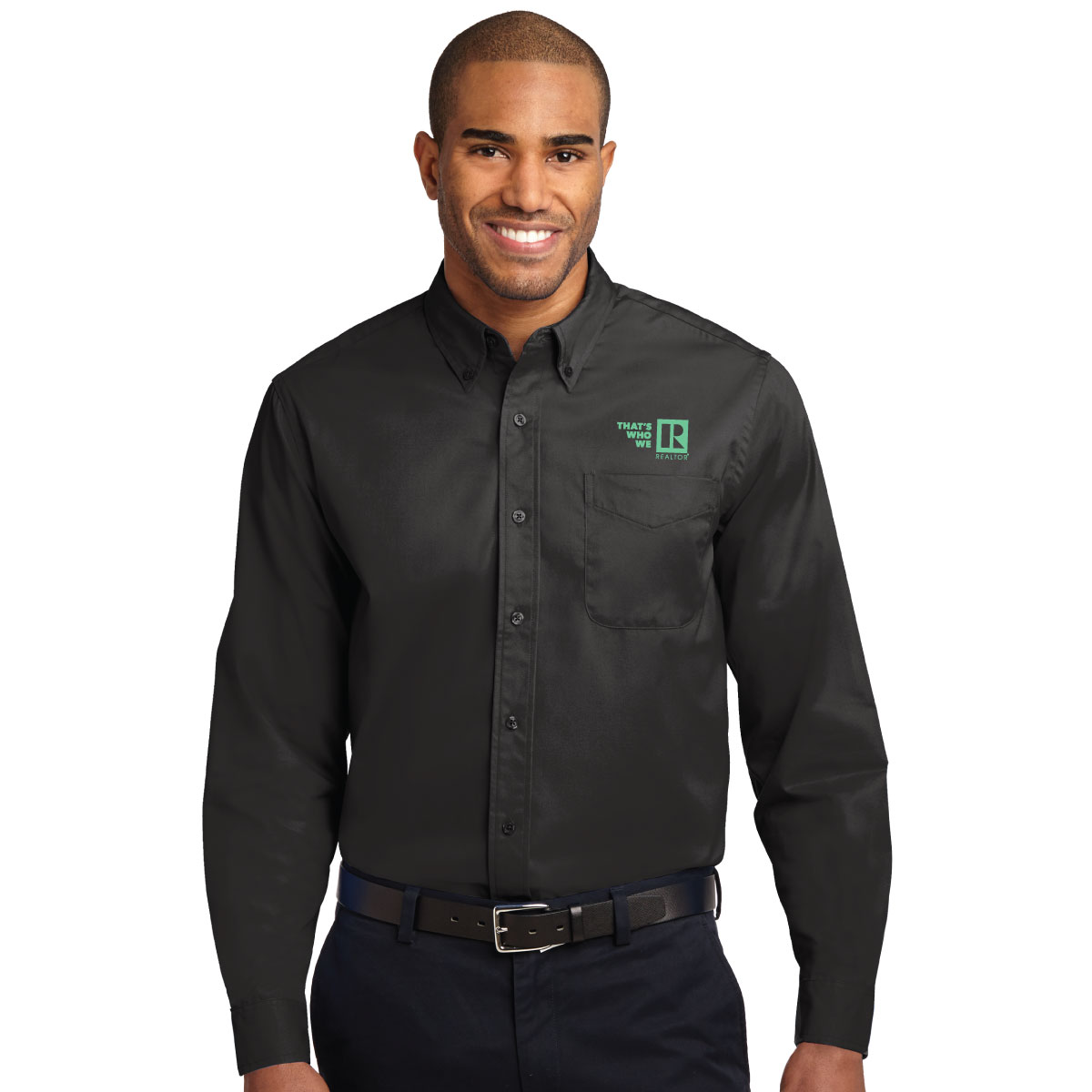"""Thats Who We R"" Mens Easy Care Long Sleeve Twill Shirt Twwr,Thats,Whos,Wes,Ares,Twills,ButtonDowns,Dress,Shirts,Collars"