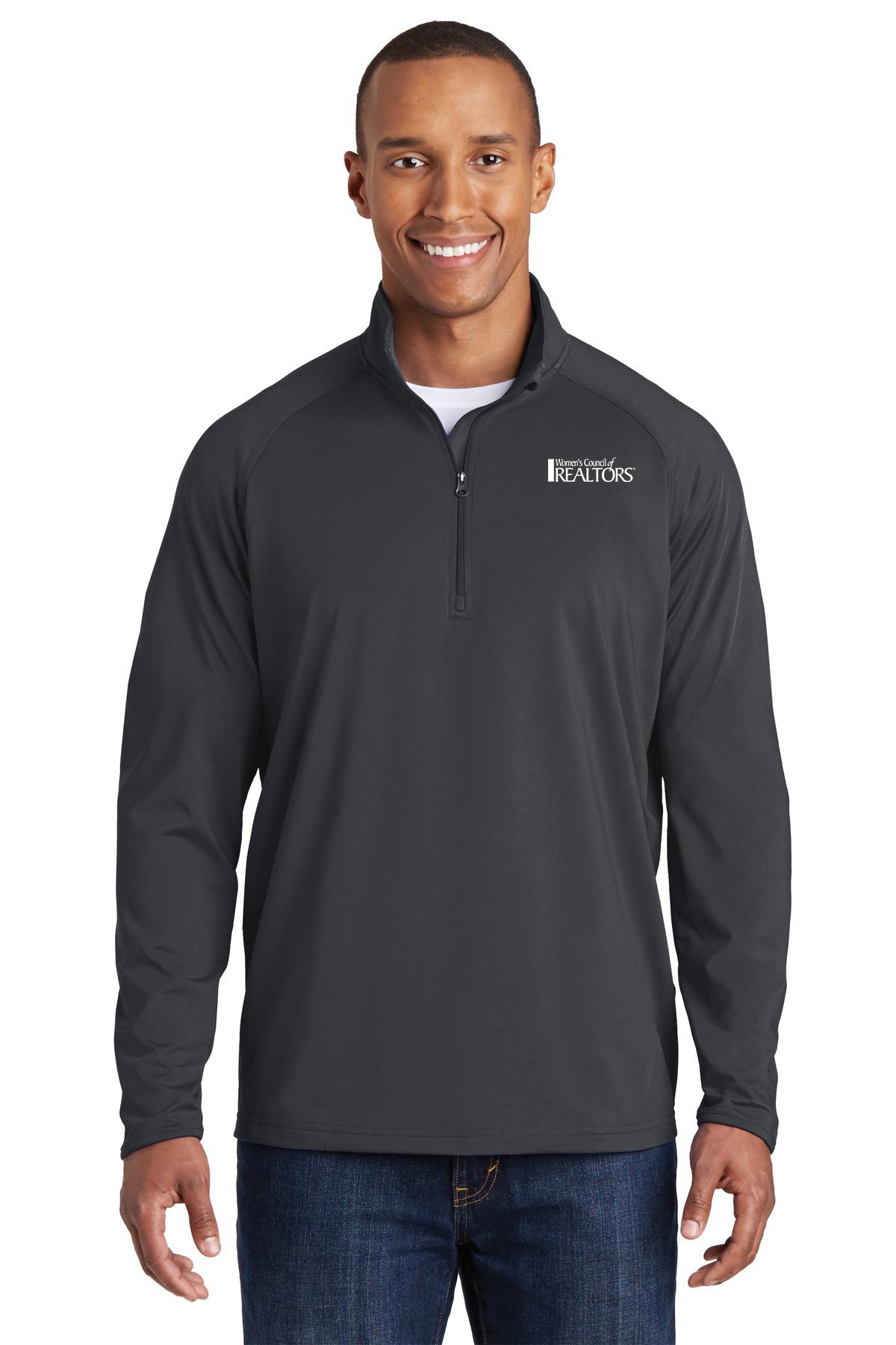 Mens Sport Stretch 1/2 Zip Pullover Pullover,Fleece,Long Sleeve