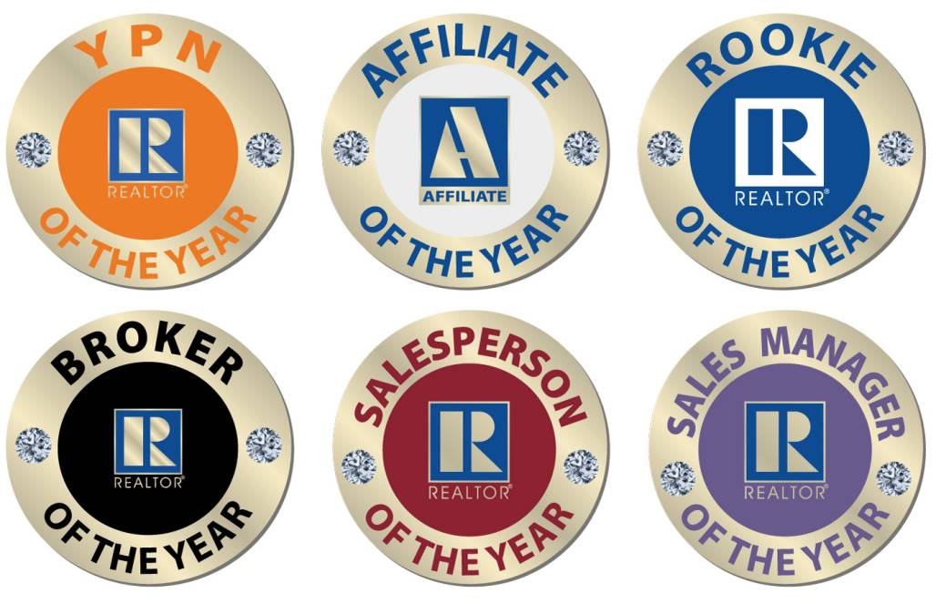 Of-The-Year Pins pins, magnetics, realtors, lapels, of the years, affiliates, rookies, sticks, stick pins, circles, circular, rounds, jewels, diamonds, gems, years, of, affiliate of the years, rookie of the years, rookies, affiliates, salespersons, sales, persons, managers, brokers,