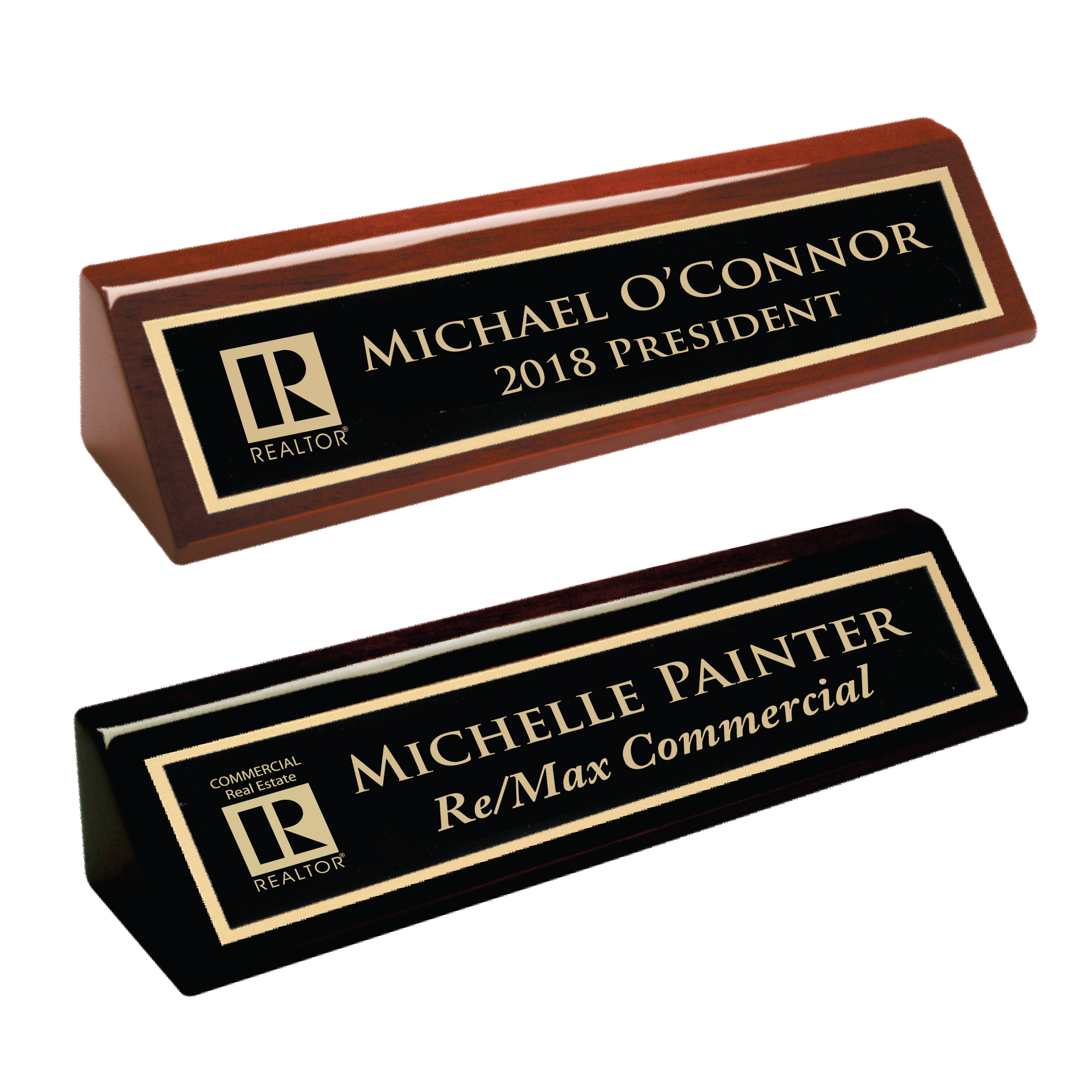 """Pick Your Logo"" Piano Finish Desk Wedge Nameplates, Desks, Wedges, Names, Plates, Badges, DeskWedges, Desk"