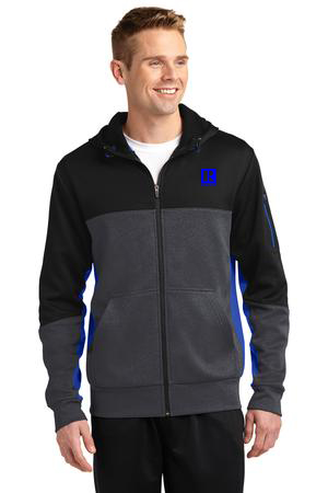 Sport-Tek Tech Fleece Colorblock Full-Zip Hooded Jacket