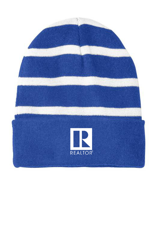 Striped Beanie with Solid Band