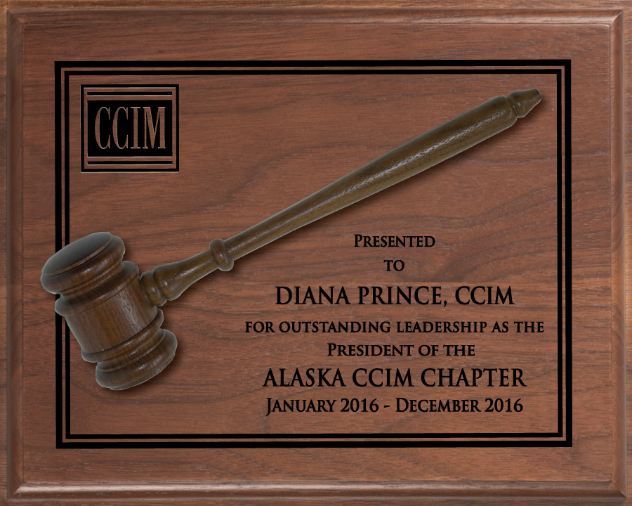 Traditional President's Gavel Plaque - CCIM awards, plaques, gavels