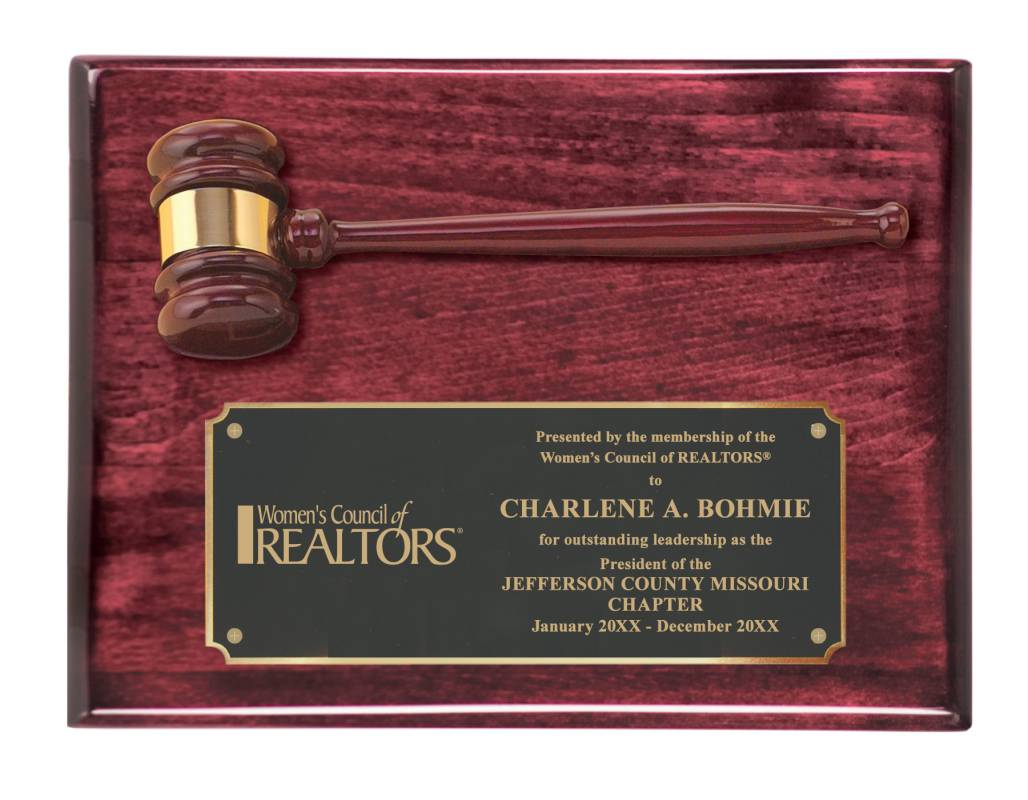 WCR Rosewood Gavel Plaque awards, plaques, gavels