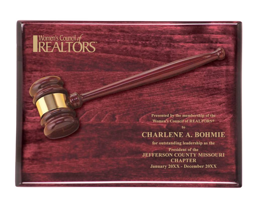 WCR Premium Rosewood Presidents Gavel Plaque awards, plaques, gavels