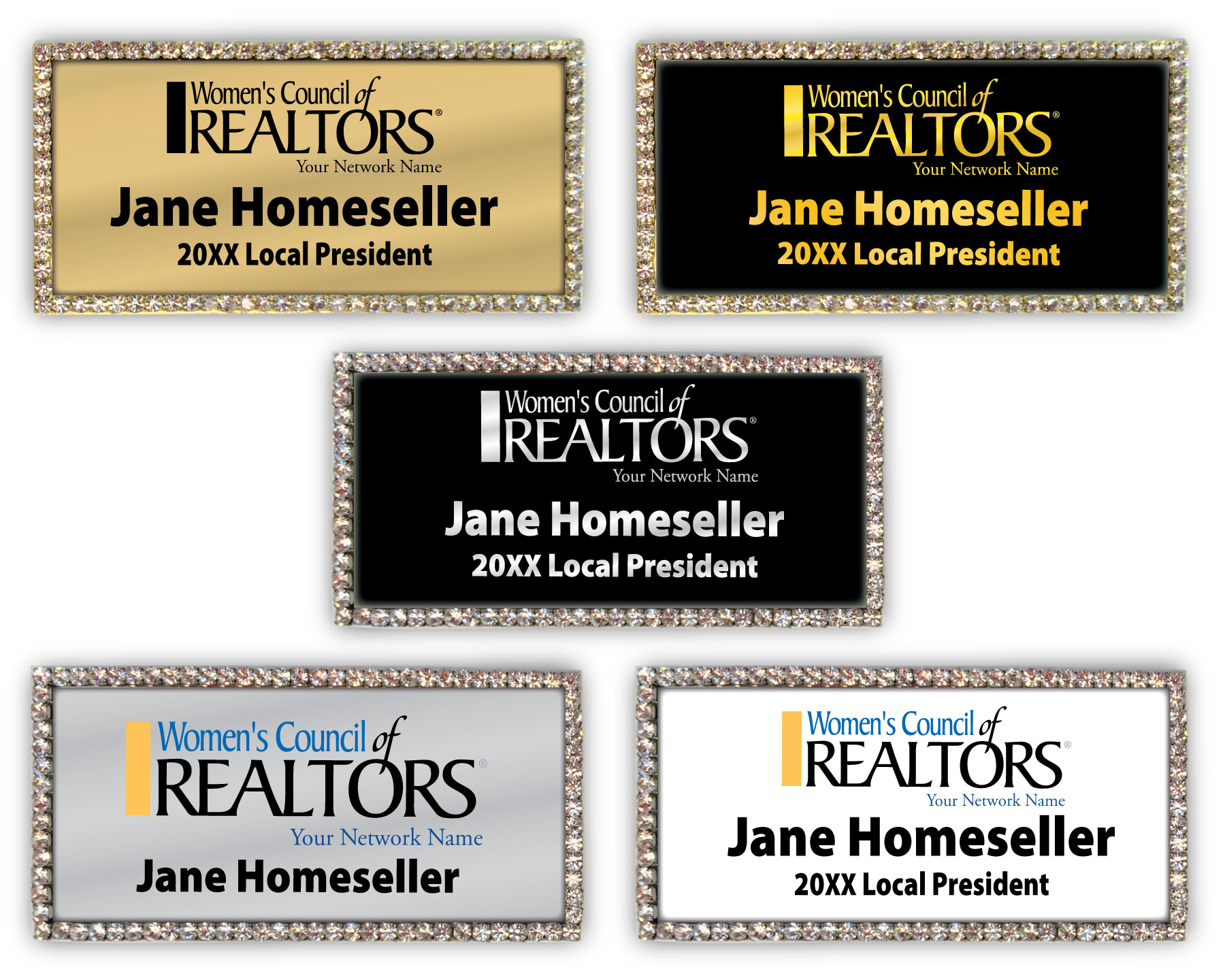 Rectangle Blingtastic Badge - Womens Council of REALTORS® namebadges, badgers, pins, lapels, nameplates, bling, rhinestones, name tags