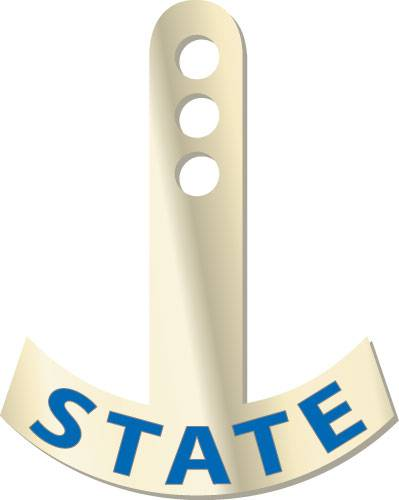 Hanging Pin Tag - State pins, realtors, lapels, stick pins, sticks, signs, hangings, goldtones, states, bars, tags, winners, rookies, of, years