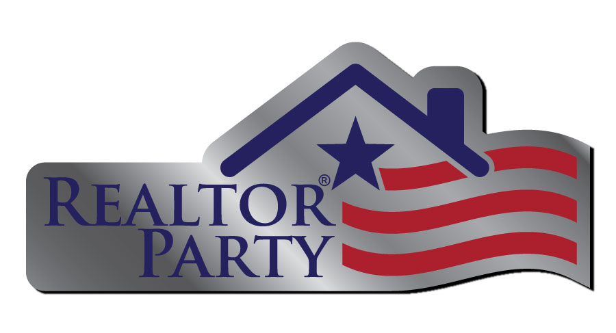 REALTOR Party Lapel Pin pins, magnetics, realtors, lapels, party, parties, RPACs, politicals, actions, committees, flags, reds, whites, blues, silvertones, silvers, rectangles