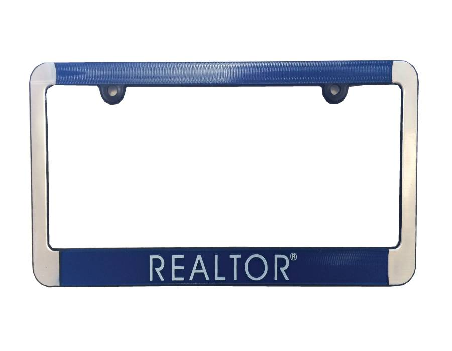 Brushed Aluminum Plastic License Plate Frame