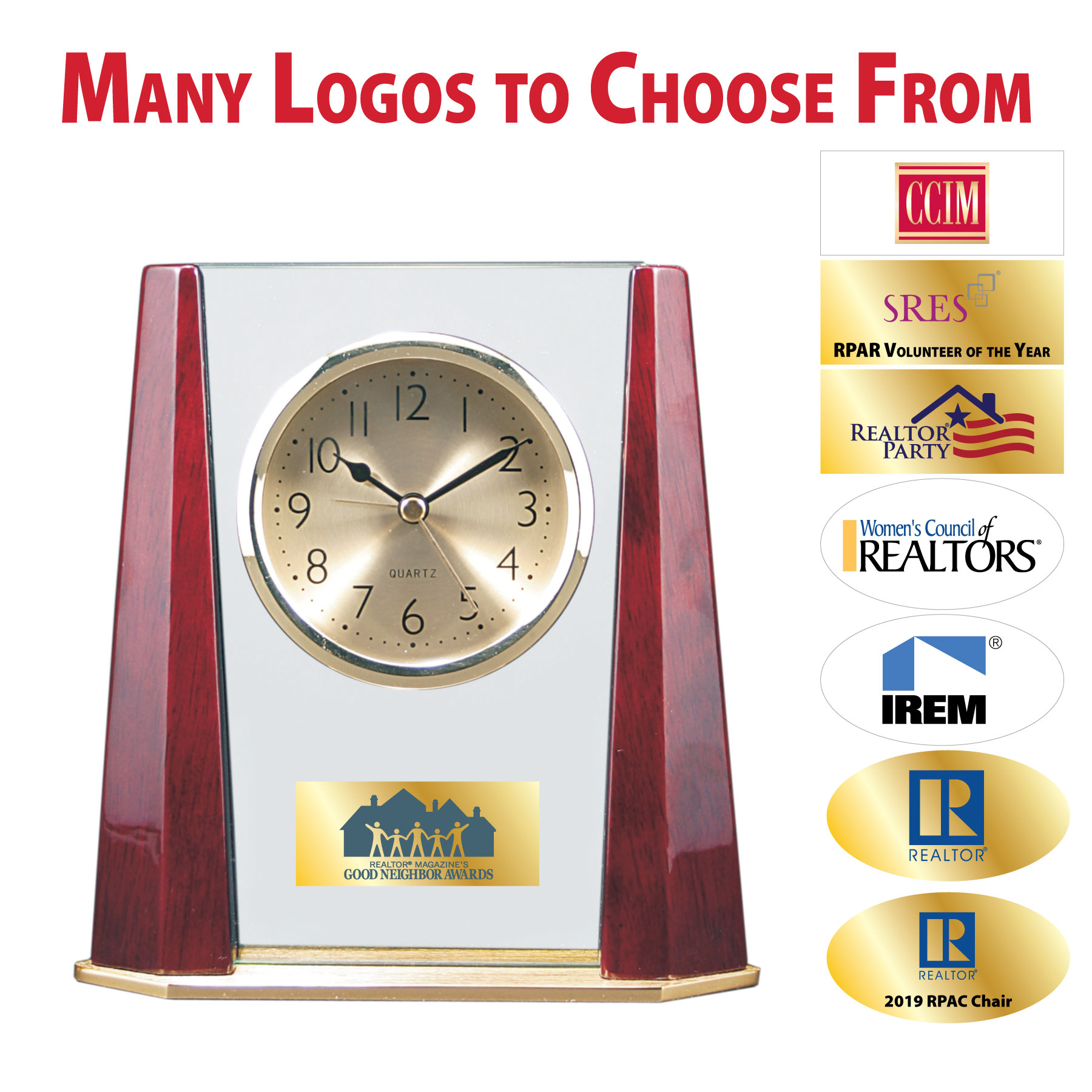 """Pick Your Logo"" Value Rosewood Pillar Clock Clocks, Times, Golds, Rosewoods, Pillars, Values"