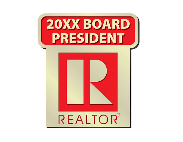 Commercial Red Board President Pin w/ Year pins, magnetics, originals, realtors, lapels, board presidents, boards, presidents, commercial, residential, years, stick pins, sticks