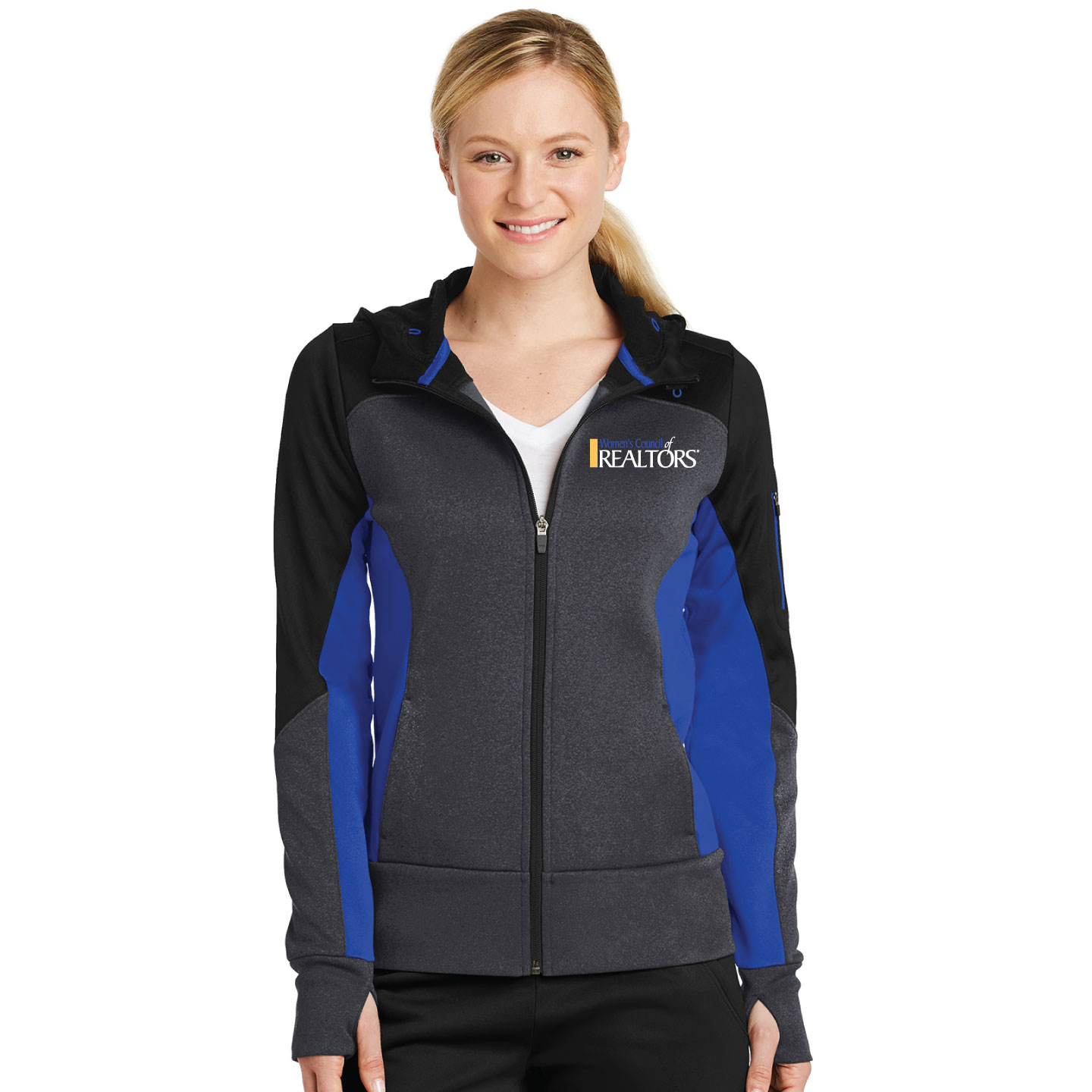 Sport-Tek Ladies Tech Fleece Colorblock Full-Zip Hooded Jacket  - WCL4078