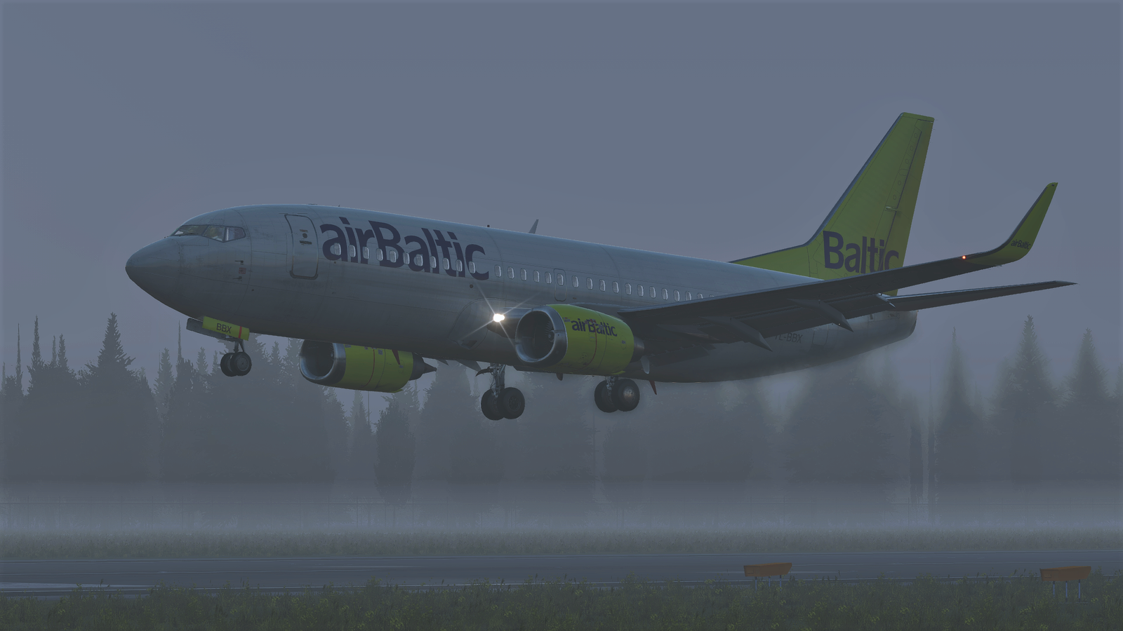 AirBaltic at a very foggy EVRA