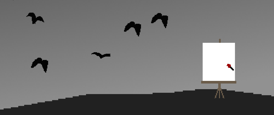 A lone canvas on a monochrome hill with a flock of crows flying beyond