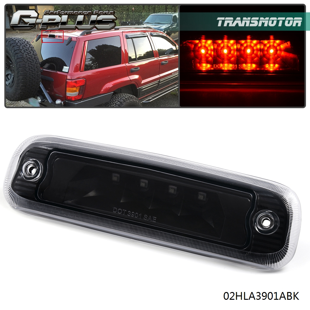 3rd Black Housing Smoke Lens Rear LED Third Brake Light for 97-01 Jeep Cherokee