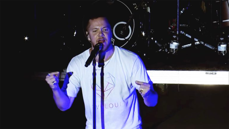 Dan Reynolds of Imagine Dragons speaking at his LOVELOUD Fest