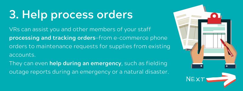 Help process orders - Virtual Receptionist