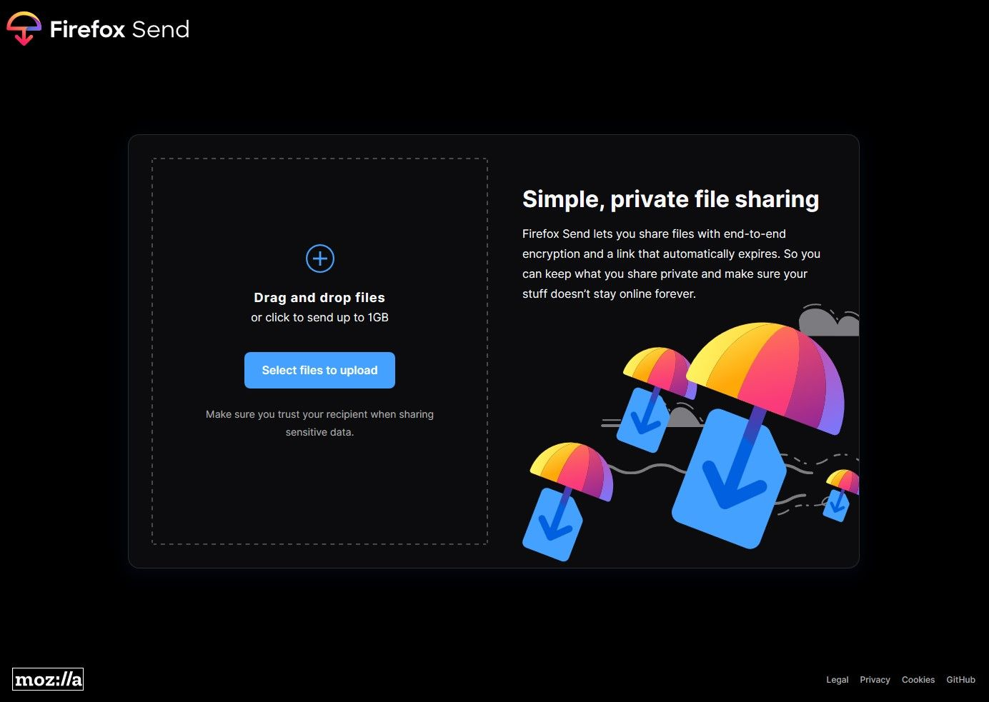 Self-hosted Firefox Send main page