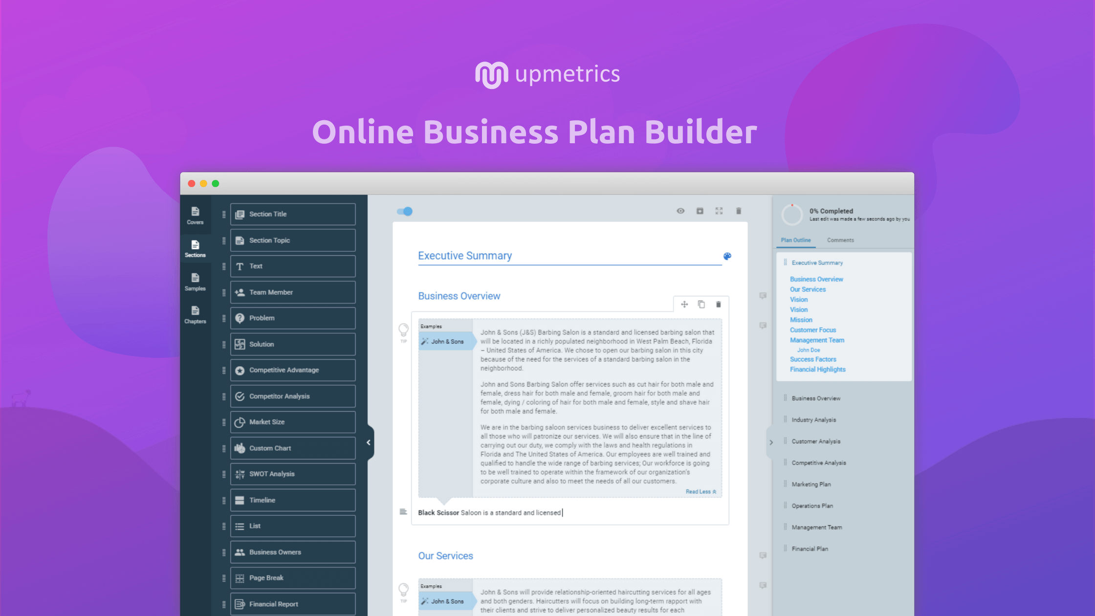 Upmetrics Business Plan Builder