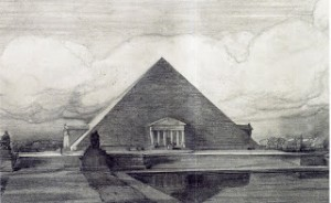 Proposed pyramid design for the Lincoln Memorial
