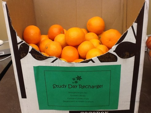 Study Day Recharge! Brought to you by: Furman Libraries Culinary Club Department of Health Sciences