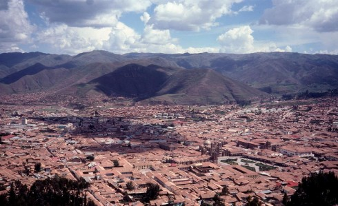 Panoramic view of Cuzco, Peru.