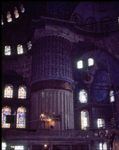 An inside view of the Sultan Ahmed Mosque, Istanbul, Turkey.