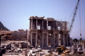 Exterior view of the Library of Celsus, Ephesus, Turkey.