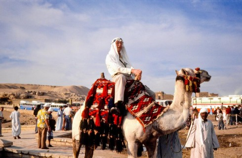 View of Robert Tucker on a camel in Giza, Egypt.