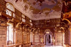 View of the Stift Melk Library in Melk, Austria.