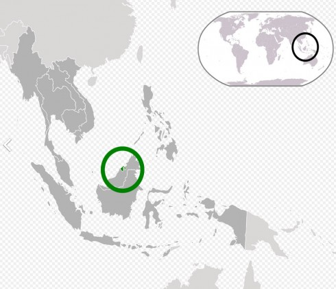 Location of Brunei (green) in ASEAN (dark grey).  Image by ASDFGHJ, via Wikimedia Commons.