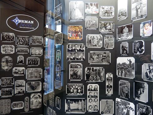 Display of photographs from Furman yearbooks
