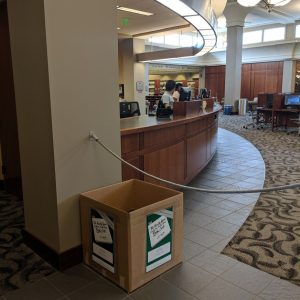 Donation box is located next to the Circulation Desk