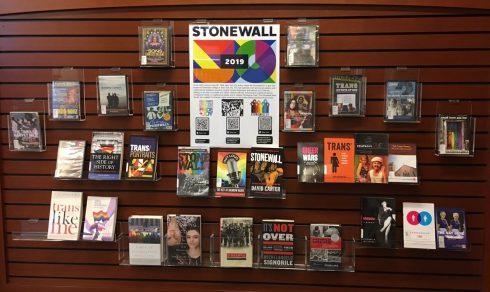 Display of books related to LGBTQ topics