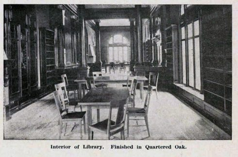Interior of Library. Finished in Quartered Oak