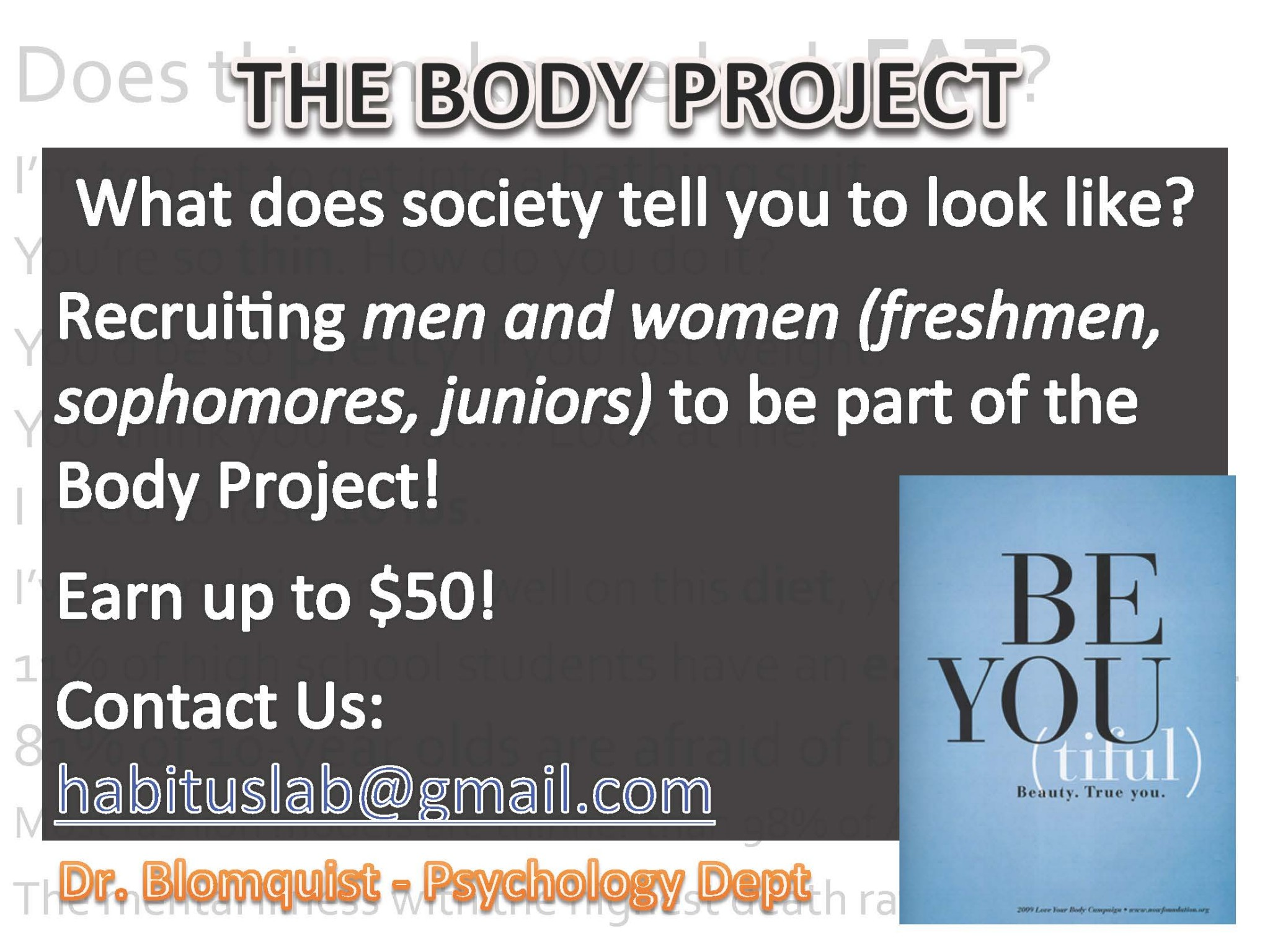 the body image project The body project what is body image many people think the topic of body image only applies to women and girls but while researchers differ when defining body image, there is no question that body image is an issue that affects anyone, regardless of sex, ethnicity, or age.