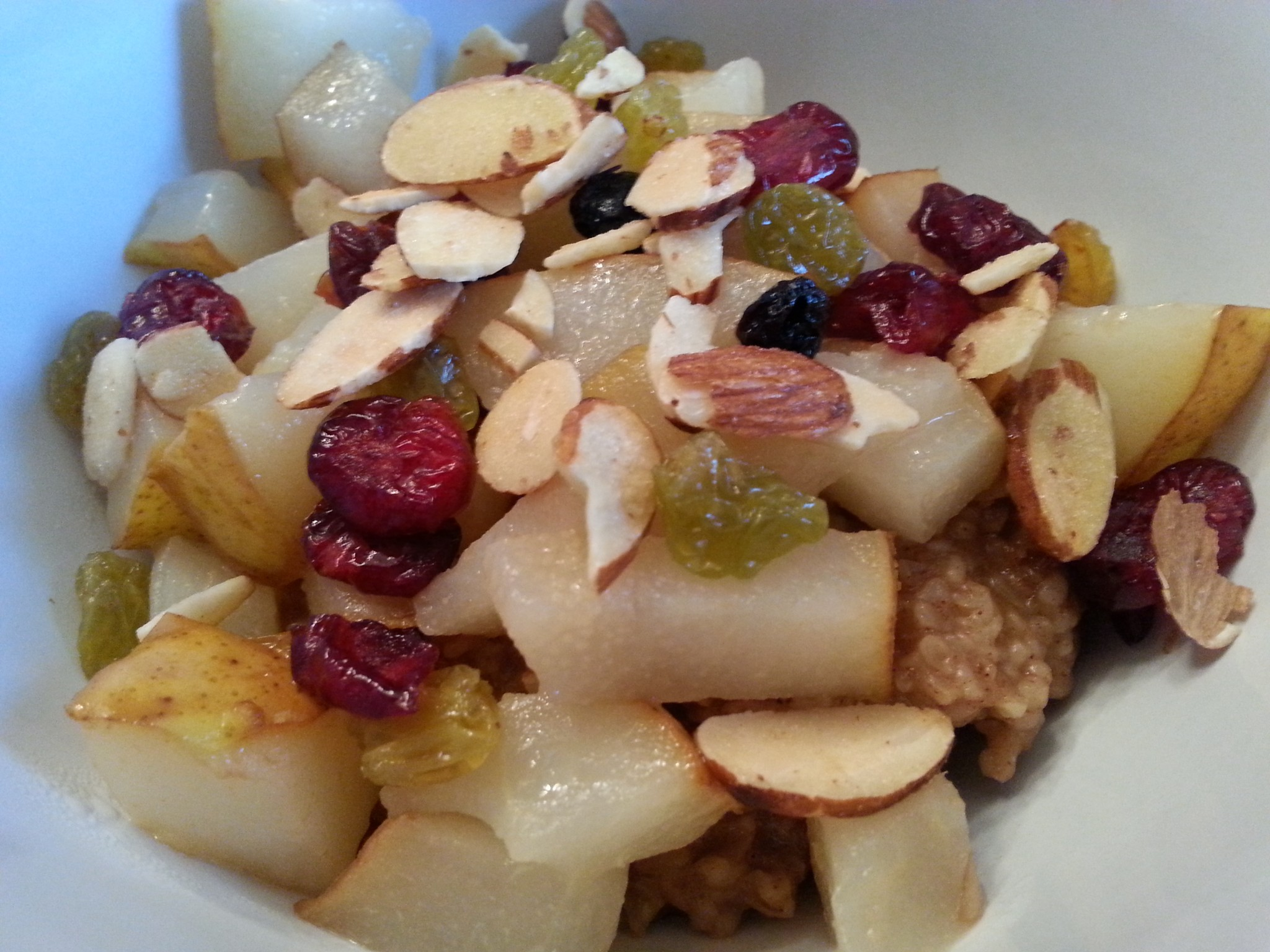 Steel Cut Oatmeal Bar with Roasted Pears