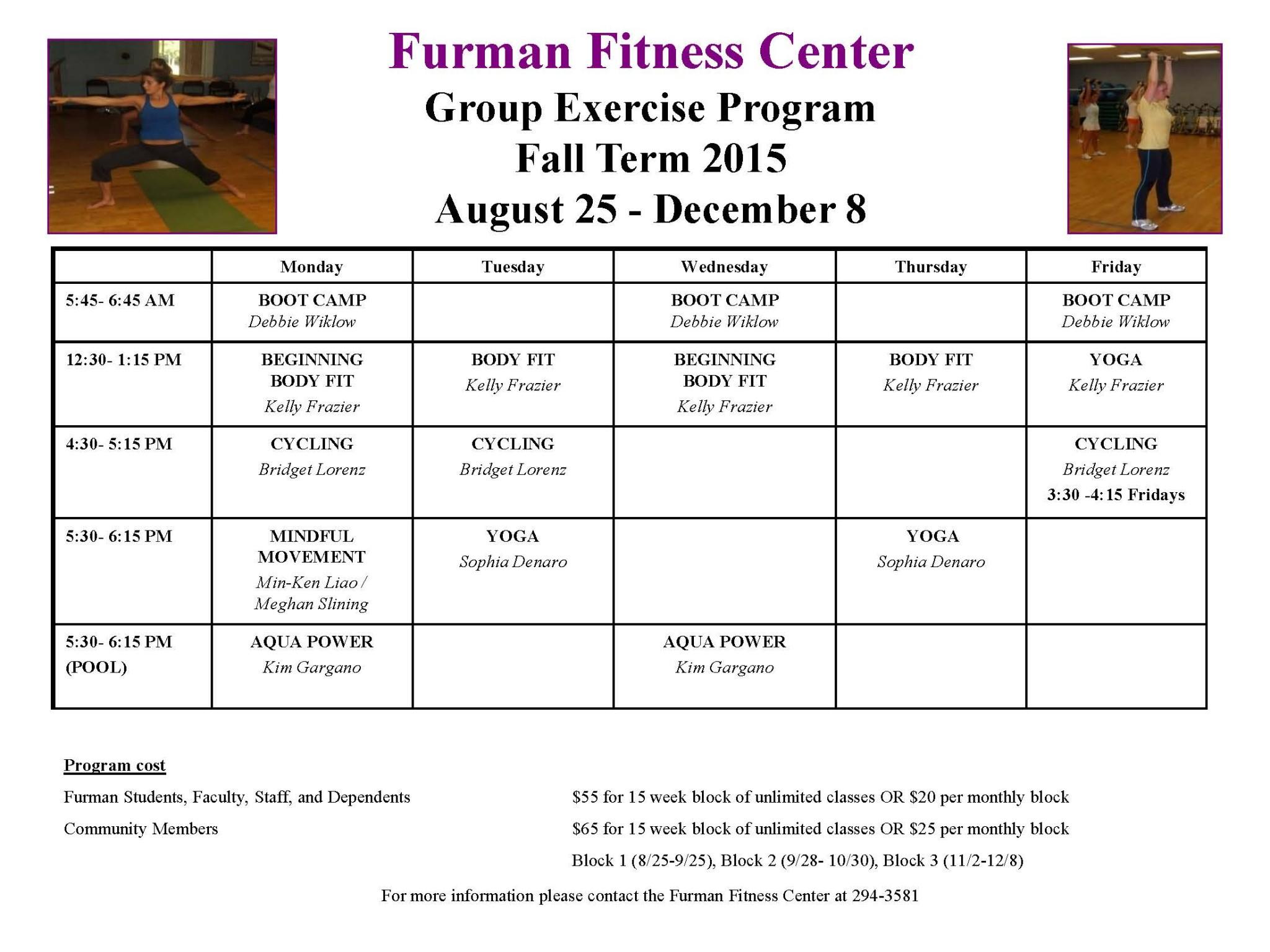 Fall 2015 Group Exercise Class Schedule Live Well Furman Furman