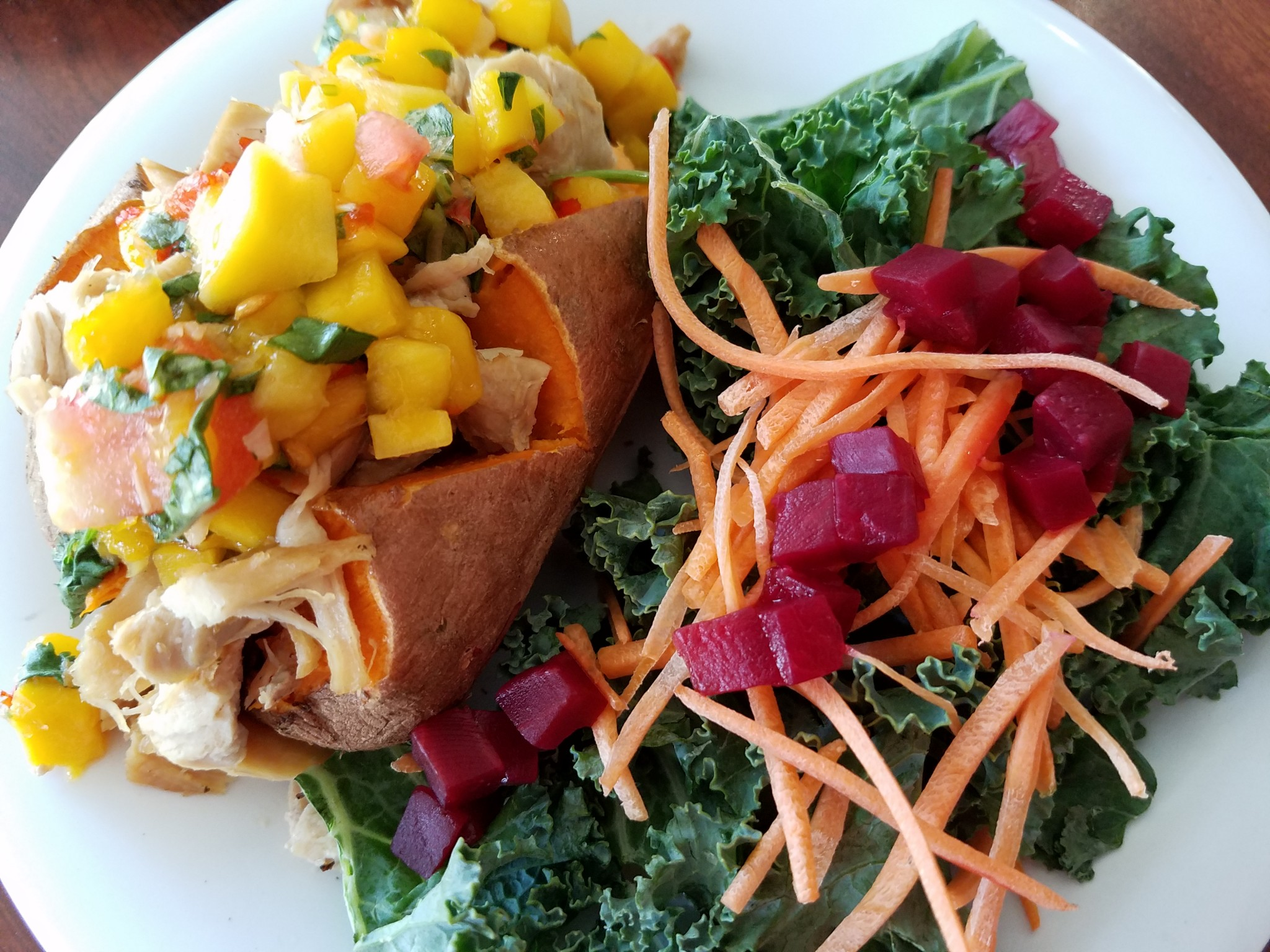 FINAL 5 Baked Sweet Potato with Chicken, Mango Salsa, Kale Salad (1)