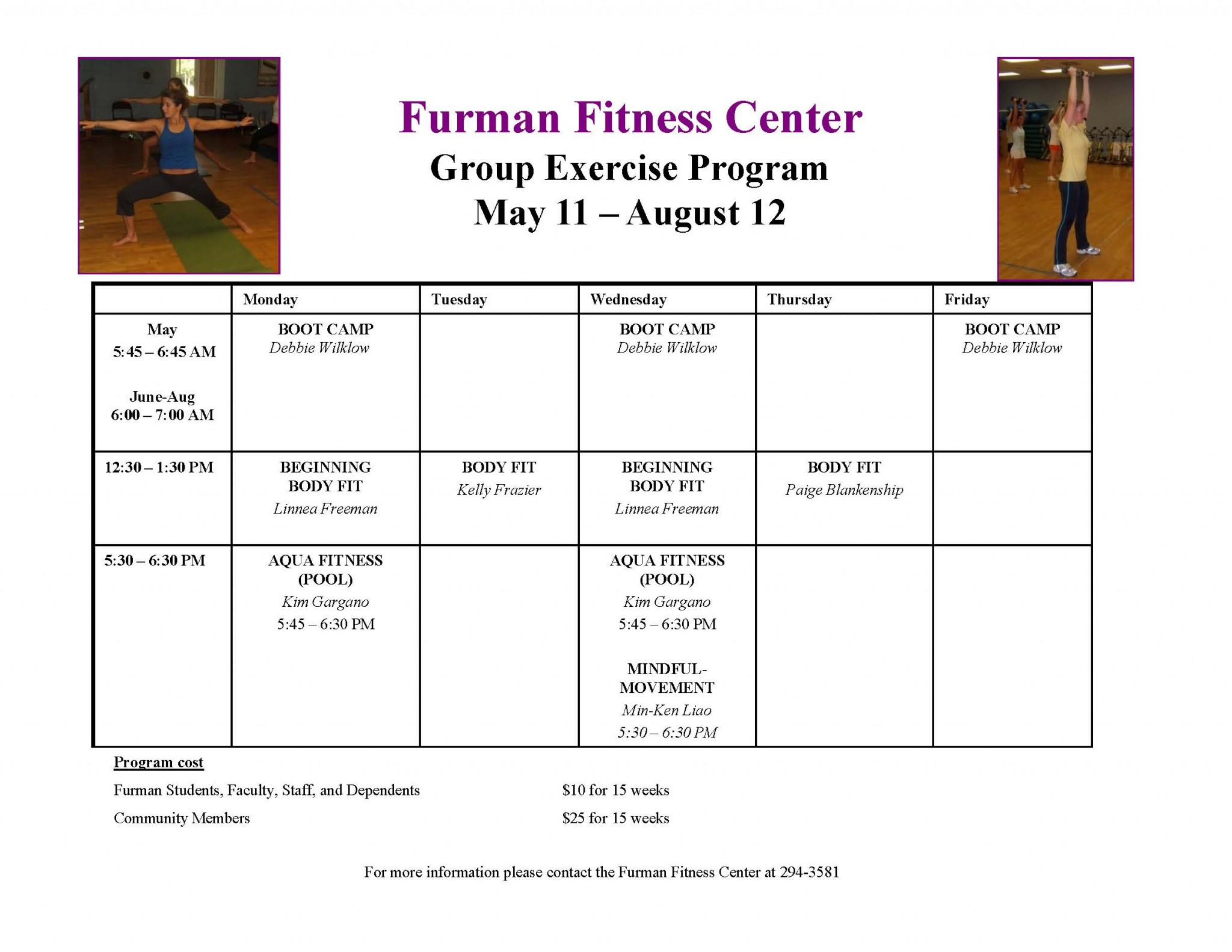 Summer Group Exercise Schedule Live Well Furman