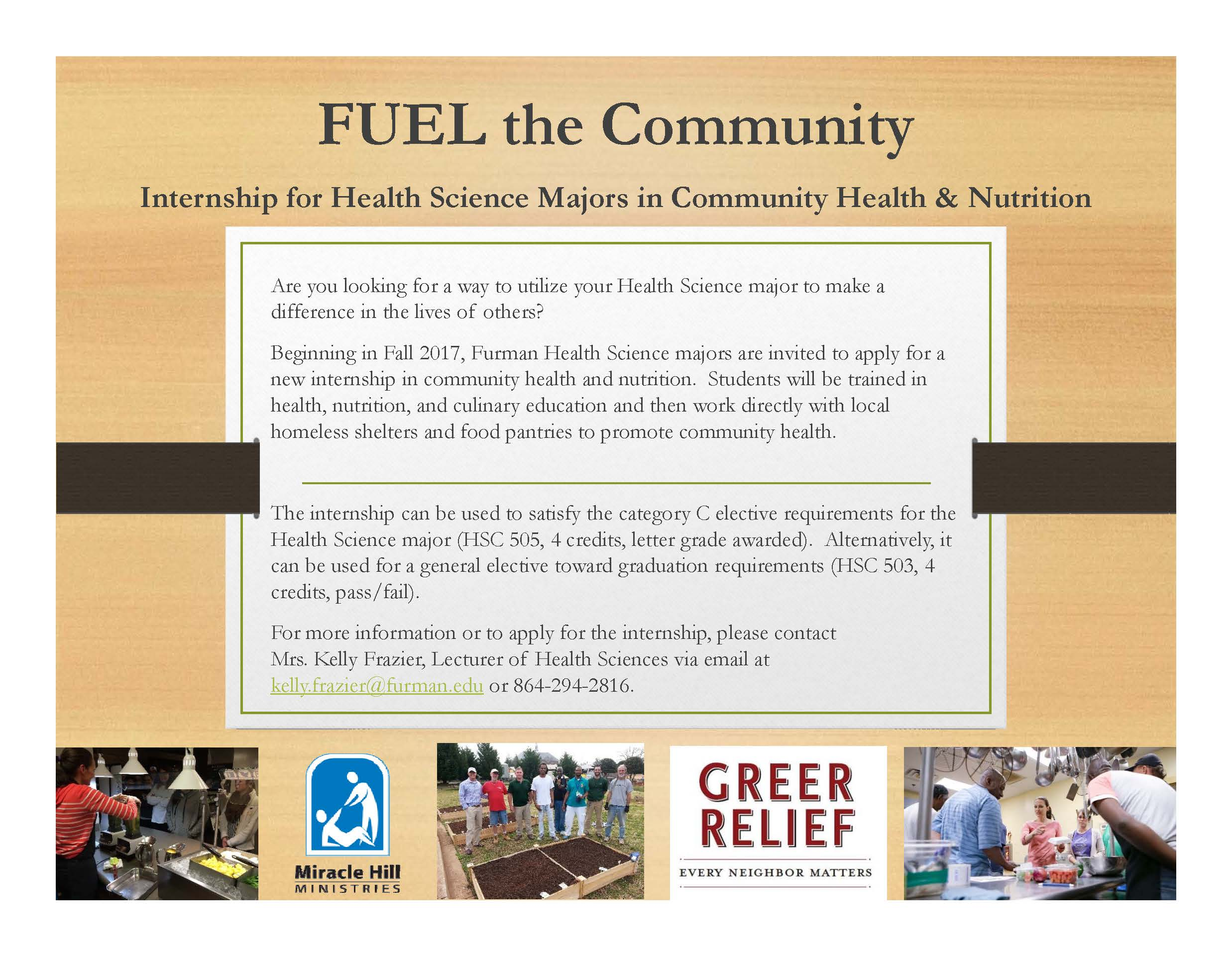 FUEL the munity Internship for Health Science Majors in